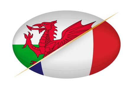 Wales versus France, concept for rugby tournament. Vector flags stylized Rugby ball.