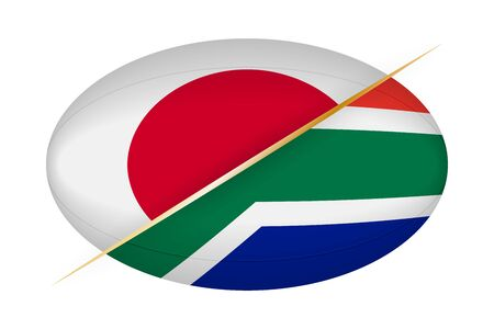 Japan versus South Africa, concept for rugby tournament. Vector flags stylized Rugby ball. Ilustração