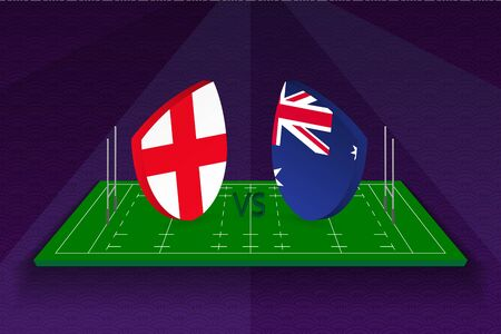 Rugby team England vs Australia on rugby field. Sport vector template.