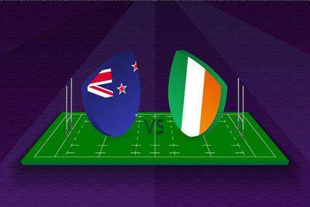 Rugby team New Zealand vs Ireland on rugby field. Sport vector template. Ilustração