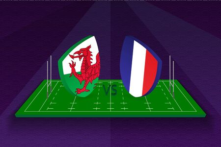 Rugby team Wales vs France on rugby field. Sport vector template.