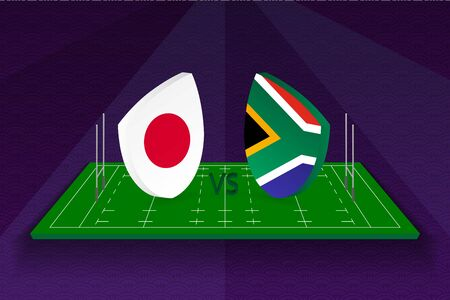 Rugby team Japan vs South Africa on rugby field. Sport vector template.