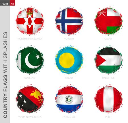 Flag collection, round grunge flag with splashes. 9 vector flags: Northern Ireland, Norway, Oman, Pakistan, Palau, Palestine, Papua New Guinea, Paraguay, Peru