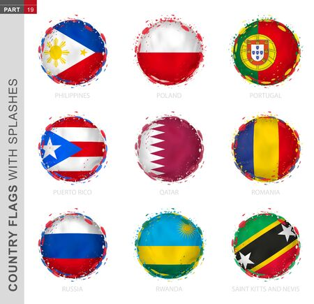 Flag collection, round grunge flag with splashes. 9 vector flags: Philippines, Poland, Portugal, Puerto Rico, Qatar, Romania, Russia, Rwanda, Saint Kitts and Nevis