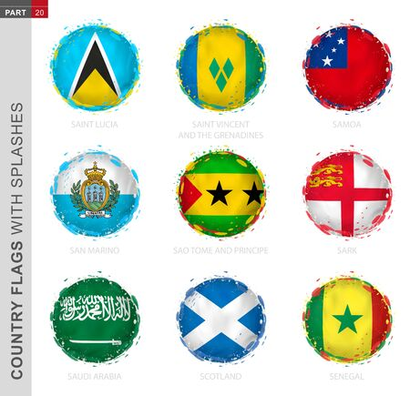Flag collection, round grunge flag with splashes. 9 vector flags: Saint Lucia, Saint Vincent and the Grenadines, Samoa, San Marino, Sao Tome and Principe, Sark, Saudi Arabia, Scotland, Senegal
