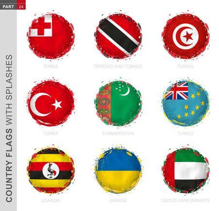 Flag collection, round grunge flag with splashes. 9 vector flags: Tonga, Trinidad and Tobago, Tunisia, Turkey, Turkmenistan, Tuvalu, Uganda, Ukraine, United Arab Emirates Ilustração