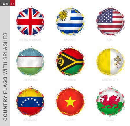 Flag collection, round grunge flag with splashes. 9 vector flags: United Kingdom, Uruguay, USA, Uzbekistan, Vanuatu, Vatican City, Venezuela, Vietnam, Wales Иллюстрация