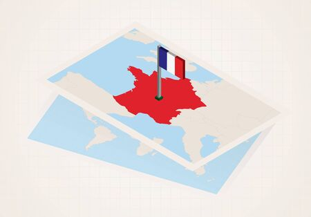 France selected on map with isometric flag of France. Vector paper map.