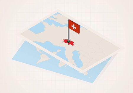 Switzerland selected on map with isometric flag of Switzerland. Vector paper map. Illusztráció