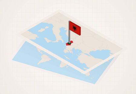 Albania selected on map with isometric flag of Albania. Vector paper map.