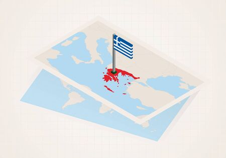 Greece selected on map with isometric flag of Greece. Vector paper map.