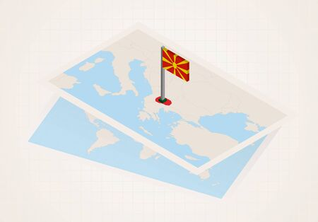 Macedonia selected on map with isometric flag of Macedonia. Vector paper map. Stock Illustratie
