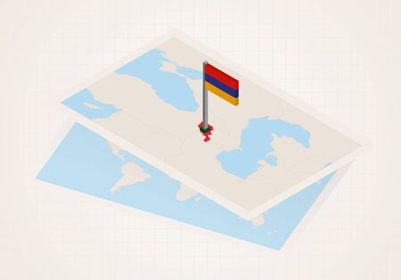 Armenia selected on map with isometric flag of Armenia. Vector paper map.