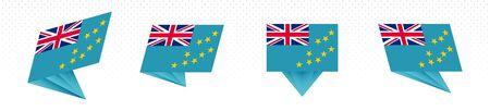 Flag of Tuvalu in modern abstract design, vector flag set.
