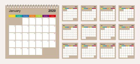 Calendar 2020 colorful design, set of 12 vector wall planner calendar pages on beige background. Week starts on Monday. Vector calendar template.
