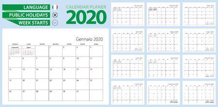 Italian calendar planner for 2020. Italian language, week starts from Sunday. Vector template.