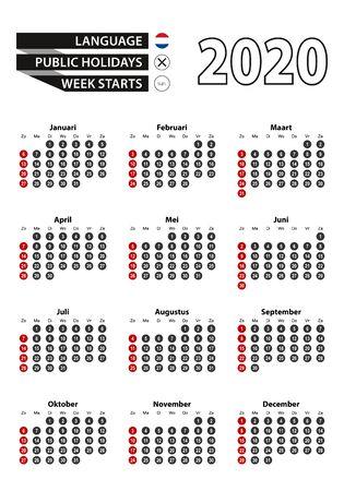 Dutch calendar 2020 with numbers in circles, week starts on Sunday. Vector calendar 2020. Ilustração