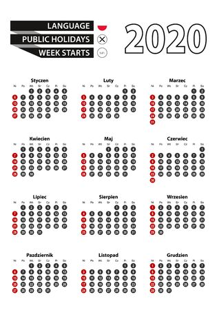 Polish calendar 2020 with numbers in circles, week starts on Sunday. Vector calendar 2020.