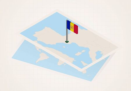 Andorra selected on map with isometric flag of Andorra. Vector paper map. Illustration