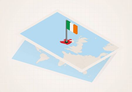 Ireland selected on map with isometric flag of Ireland. Vector paper map.