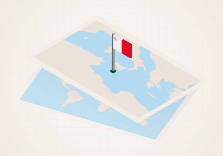 Malta selected on map with isometric flag of Malta. Vector paper map. Illustration