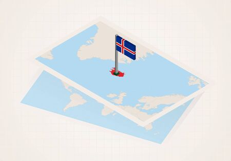 Iceland selected on map with isometric flag of Iceland. Vector paper map.