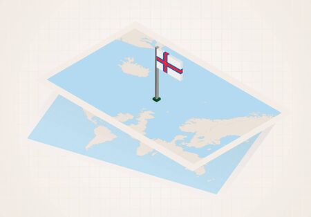Faroe Islands selected on map with isometric flag of Faroe Islands. Vector paper map.