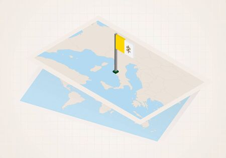 Vatican City selected on map with isometric flag of Vatican City. Vector paper map.