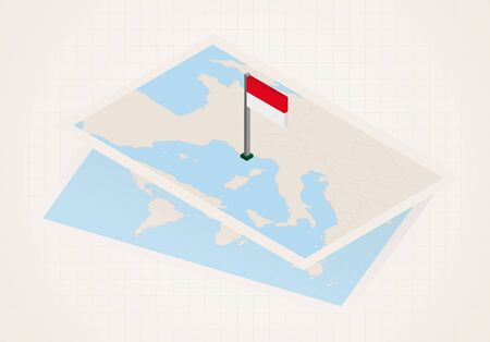 Monaco selected on map with 3D flag of Monaco. Vector paper map.