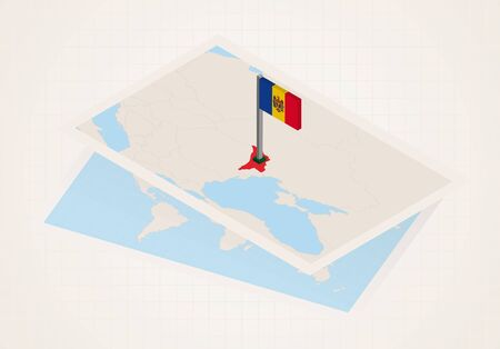 Moldova selected on map with isometric flag of Moldova. Vector paper map.