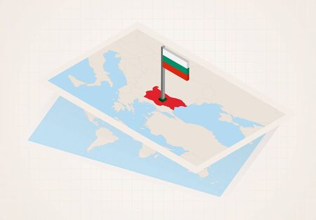 Bulgaria selected on map with isometric flag of Bulgaria. Vector paper map.