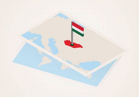 Hungary selected on map with isometric flag of Hungary. Vector paper map.
