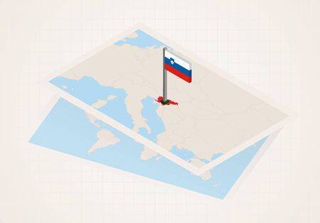 Slovenia selected on map with isometric flag of Slovenia. Vector paper map. Illustration