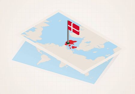 Denmark selected on map with isometric flag of Denmark. Vector paper map.