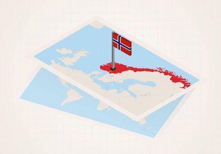 Norway selected on map with isometric flag of Norway. Vector paper map. Illustration