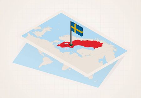 Sweden selected on map with isometric flag of Sweden. Vector paper map.