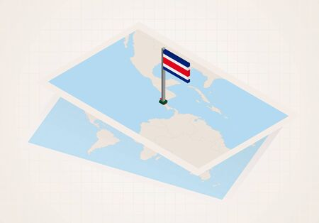 Costa Rica selected on map with isometric flag of Costa Rica. Vector paper map.