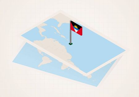 Antigua and Barbuda selected on map with isometric flag of Antigua and Barbuda. Vector paper map.