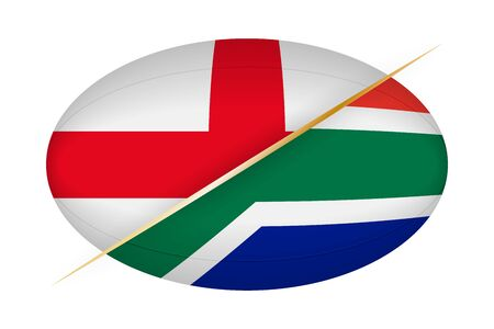 England versus South Africa, concept for rugby tournament. Vector flags stylized Rugby ball.