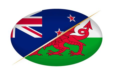 New Zealand versus Wales, concept for rugby tournament. Vector flags stylized Rugby ball.