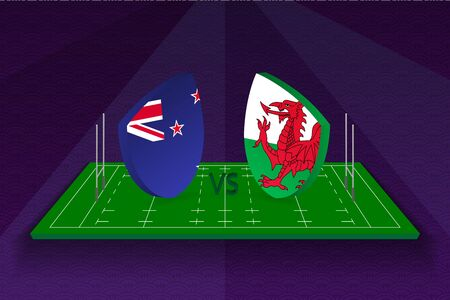 Rugby team New Zealand vs Wales on rugby field. Sport vector template.