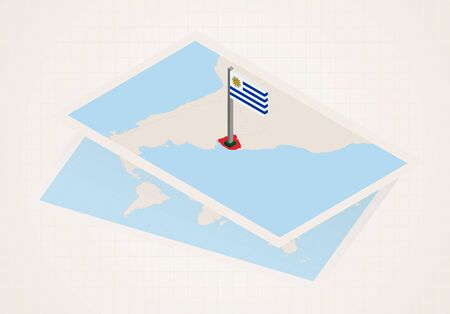 Uruguay selected on map with isometric flag of Uruguay. Vector paper map.