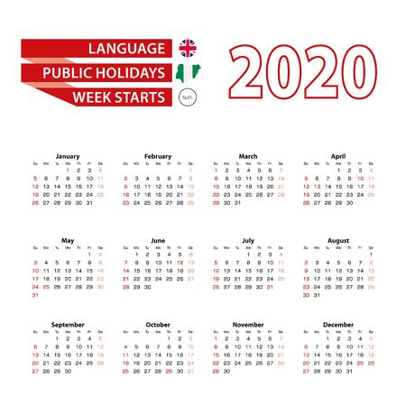 Calendar 2020 in English language with public holidays the country of Nigeria in year 2020. Week starts from Sunday. Vector Illustration.