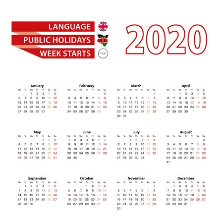 Calendar 2020 in English language with public holidays the country of Kenya in year 2020. Week starts from Monday. Vector Illustration. 일러스트