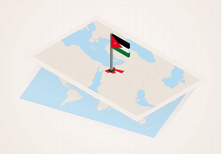 Jordan selected on map with isometric flag of Jordan. Vector paper map.