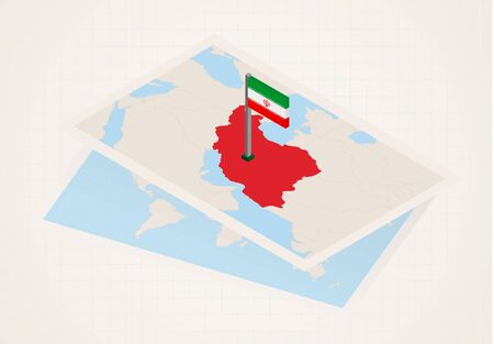 Iran selected on map with isometric flag of Iran. Vector paper map.
