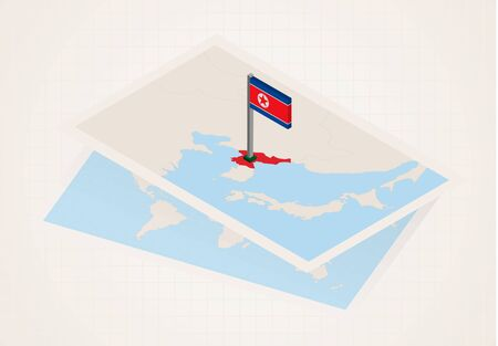 North Korea selected on map with isometric flag of North Korea. Vector paper map.