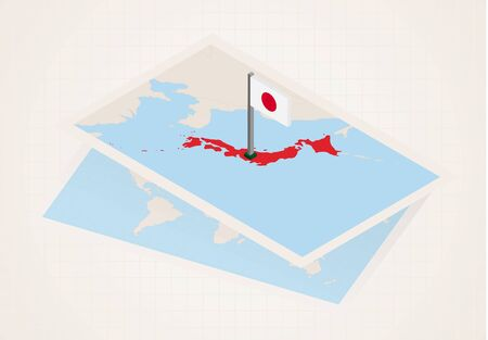 Japan selected on map with isometric flag of Japan. Vector paper map. Stock Illustratie