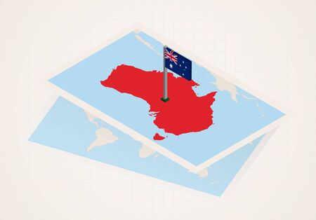 Australia selected on map with isometric flag of Australia. Vector paper map.