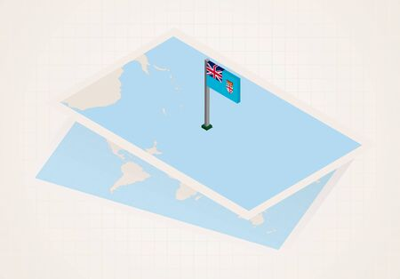 Fiji selected on map with isometric flag of Fiji. Vector paper map. Illustration